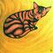 「包まれる猫」 木板、アクリル 45×45cm 2001