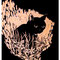 「一匹黒猫」 板、木彫 60×50cm 2005