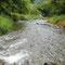 2009年9月29日、水量計の堰堤を越えると、開けた渓流