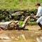 旧友amberクンが、まず、稲刈りに挑戦する。今年で2回目。