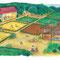 カンボジアの農村(シャンティ271号) 2013年 アクリルガッシュ、色鉛筆