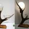 (12) tischleuchte mit nussbaumsockel, hirschhorn mit glasschale. Preis auf Anfrage!
