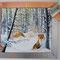 60 x70 cm oel winterfüchse