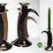 (26) kerzenhalter, silber, hirschhorn und gamskrickel, mit windkerzenglas. Preis auf Anfrage!