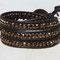 Bracelet cuir Brun et perles cristal de Bohème Bronze or