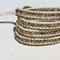 Bracelet cuir  crème patiné or et Chainette Bronze, perles cristal dorado