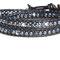 Bracelet 'What a mess', cuir noir et melange de perles Swarovski grises, argent et bleues