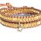 Bracelet Cuir Vintage Brown et perles bohème light topaz