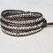 Bracelet Hélium Cuir Bronze et Perles Cristal Bohème Argent