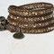 bracelet cuir bronze et perles de bohème cristal dorado light