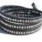 Bracelet cuir noir et perles japonnaises héxagonales hématites