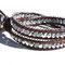 Bracelet cuir Vintage brown, chaine métal argent et perles cristal argent
