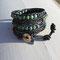 Bracelet Swing Cuir Anthracite Patiné Perles Naturelles African turquoise et Cristal Bohème Hématite