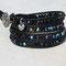Bracelet cuir noir et perles Cristal Bohème Jet AB