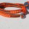 Bracelet Swing Cuir orange Perles Rocailles Sun et anthracites