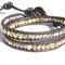 Bracelet SWING Cristal, cuir brun , perles bohème cristal dorado 2 tailles