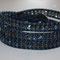 Bracelet Cuir Bleu Marine Patiné Vintage et perles cristal Bohème Montana