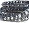 Bracelet SWING perles véritables Onyx  et Labradorites