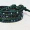bracelet cuir Vert Turqoise vintage et perles cristal de Bohème Jet