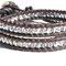 Bracelet cuir Vintage brown et mini perles cristal argent