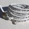 Bracelet Cuir Blanc Perles Cristal Bohème Light Argent