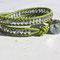 Bracelet Cuir vert granny et Perles Bohème light argent