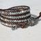 Bracelet cuir Bronze et perles cristal de Bohème Argent