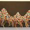 「山々」400×195mmキャンバス、刺繍、アクリル、メディウム