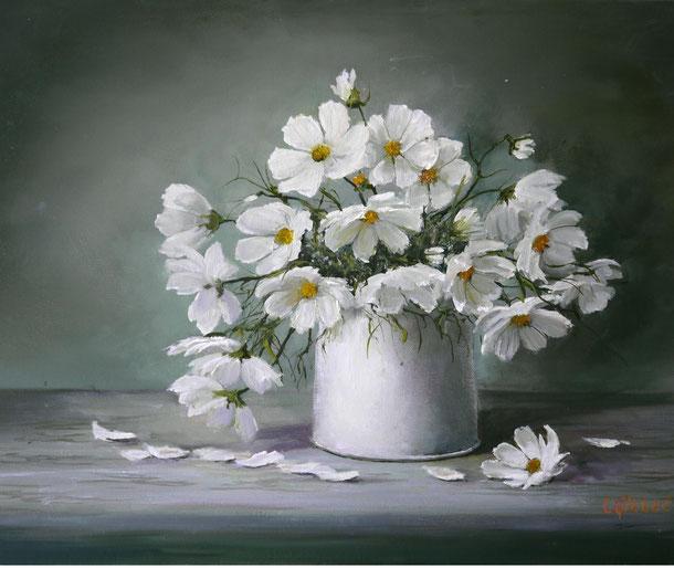 die Zärtlichkeit des weißen Cosmea Öl Leinwand 40x50