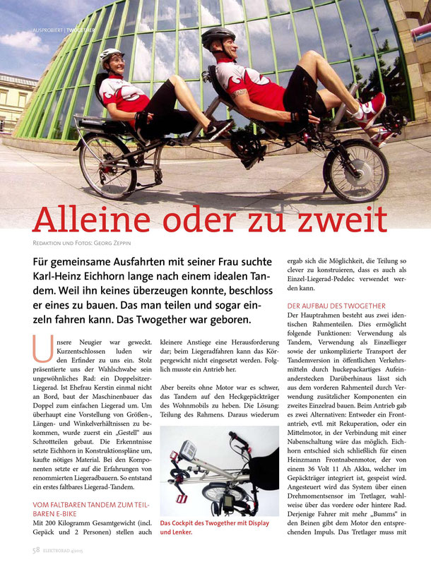 "Liegerad Tandem TWOgether im Magazin ""Elektrorad"" 05/2015 S.58"