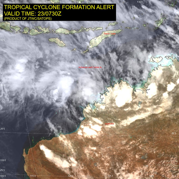 Statellite image of a tropical low before developing into tropical cyclone Riley, 23/01/2019. Image from JTWC