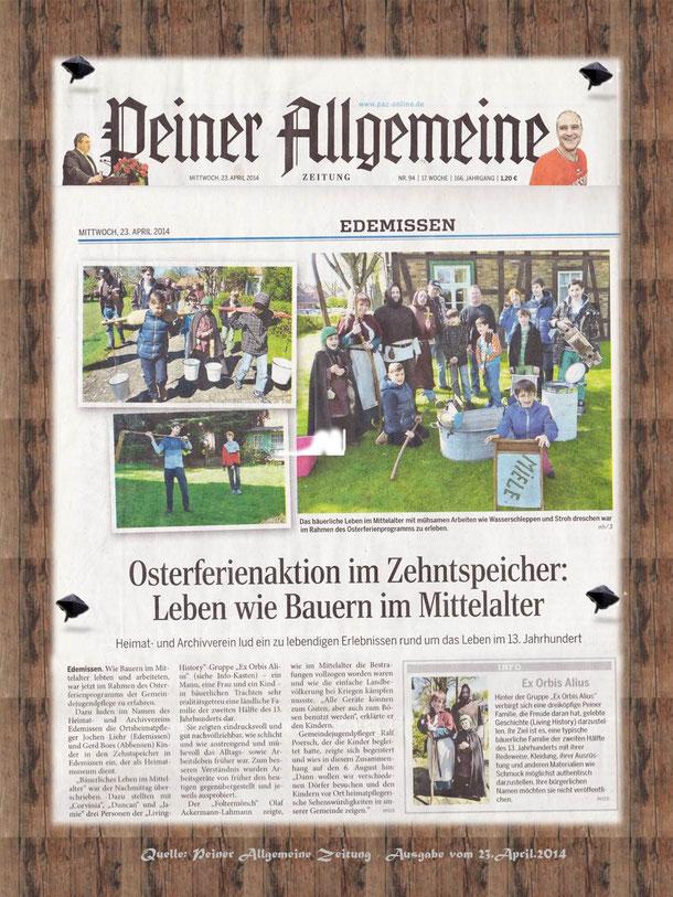 Zeitungsartikel / Quelle: Peiner Allgemeine Zeitung vom 23. April 2014