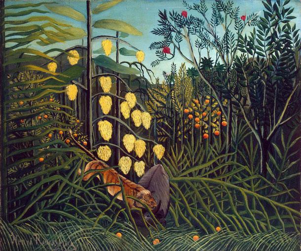 アンリ・ルソー《虎と水牛の熱帯林での戦闘》1908-1909