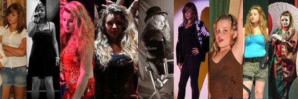 Manon dans Cabaret, Café-Théâtre 2008, H-1, Exils, La Vague, Olympe, Révolution, Millionnaire et Le Tour du Monde en 80 Jours. Cliquez pour agrandir l'image.