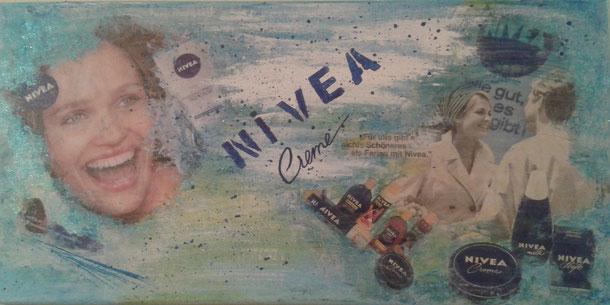 Collage mit Acryl auf Leinwand