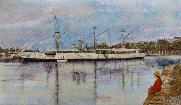 La canonnière la Zélée Sable et collage 32x55