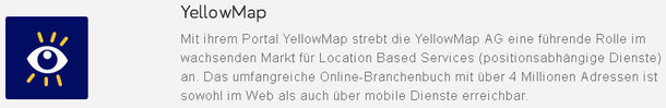 Web-Eintrag in YellowMap