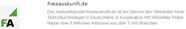 Web-Eintrag in freieauskunft.de