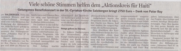 Zeitungsartikel in der Lingener Tagespost, 14. März 2014