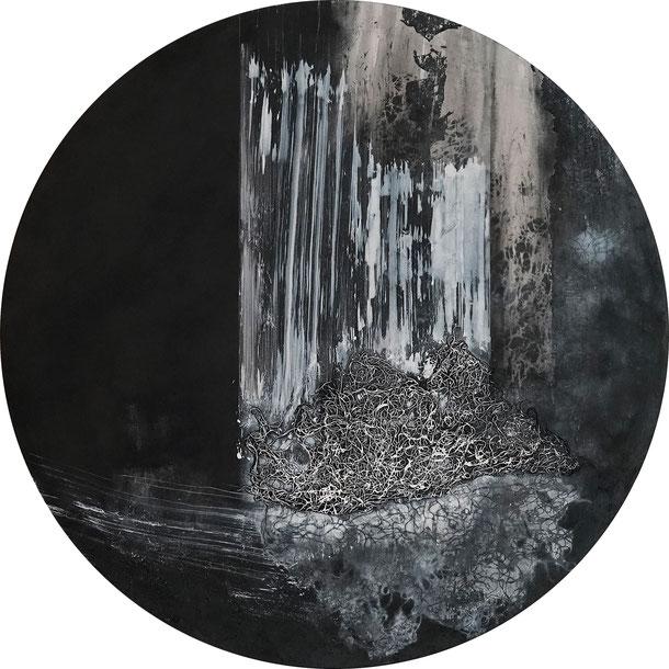 Katharina Lehmann, Source, Ø 100 cm, 2020 · Acrylic, thread on canvas
