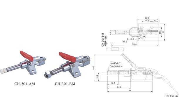 Schubstangenspanner mit Winkelfuß CH-301-AM, CH-36204-M, CH-36224-M