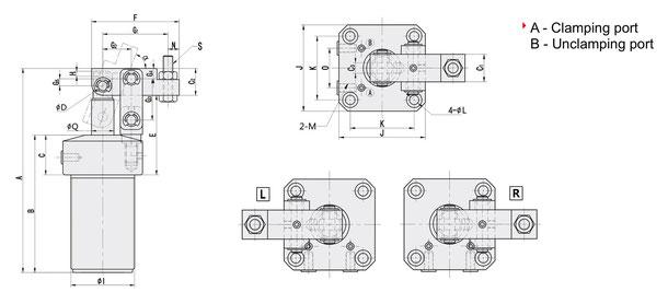 CPLCU Serie Zeichnung Pneumatischer Hebelspanner