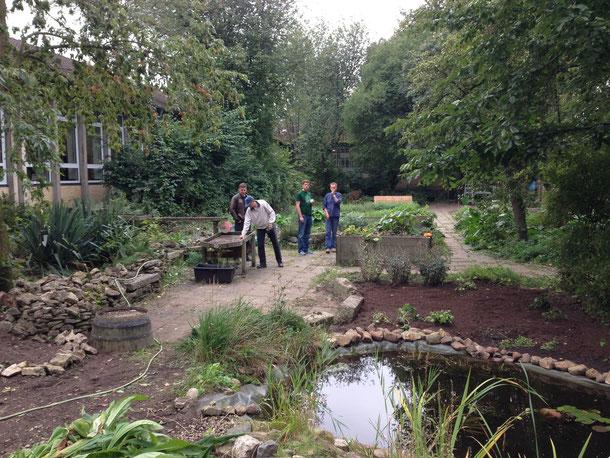 Mitarbeiter der Firma Siemens arbeiten im Schulgarten unserer Schule