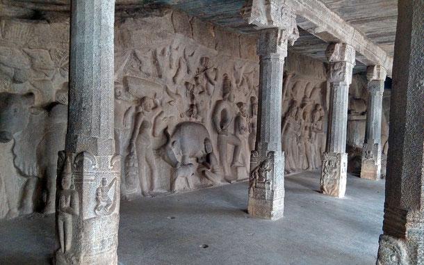 インドの世界遺産「マハーバリプラムの建造物群」の石窟寺院、クリシュナ寺院