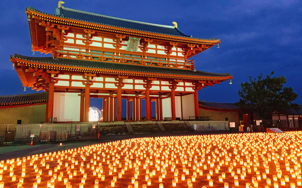 世界遺産「古都奈良の文化財」、平城宮跡の朱雀門(復元)