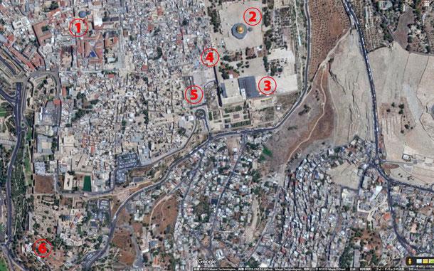 ①聖墳墓教会、②岩のドーム、③アル=アクサー・モスク、④嘆きの壁、⑤ムグラビ橋、⑥シオン山 from Googleマップ (C) Google Inc.
