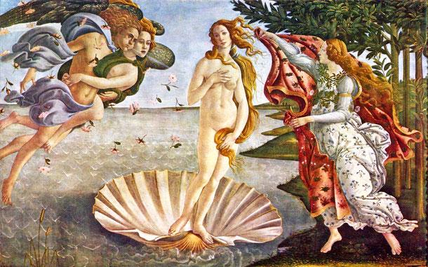 ボッティチェリ「ヴィーナスの誕生」1485年頃、ウフィツィ美術館