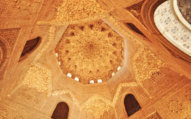 世界遺産「グラナダのアルハンブラ、ヘネラリーフェ、アルバイシン地区(スペイン)」、アルハンブラ宮殿、ナスル朝宮殿のライオン宮、二姉妹の間