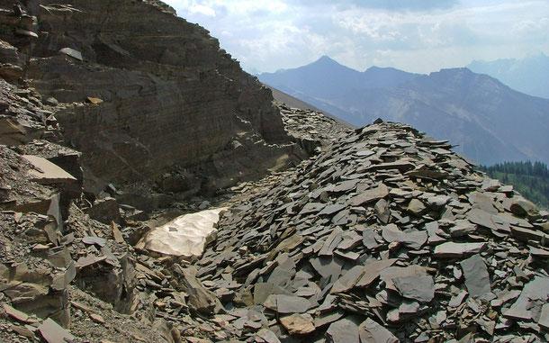 カナダの世界遺産「カナディアン・ロッキー山脈自然公園群」、ヨーホー国立公園のバージェス頁岩地帯にあたるレイモンド・クオリー