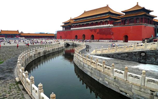 国の世界遺産「北京と瀋陽の明・清朝の皇宮群」、北京故宮の太和門と金水河